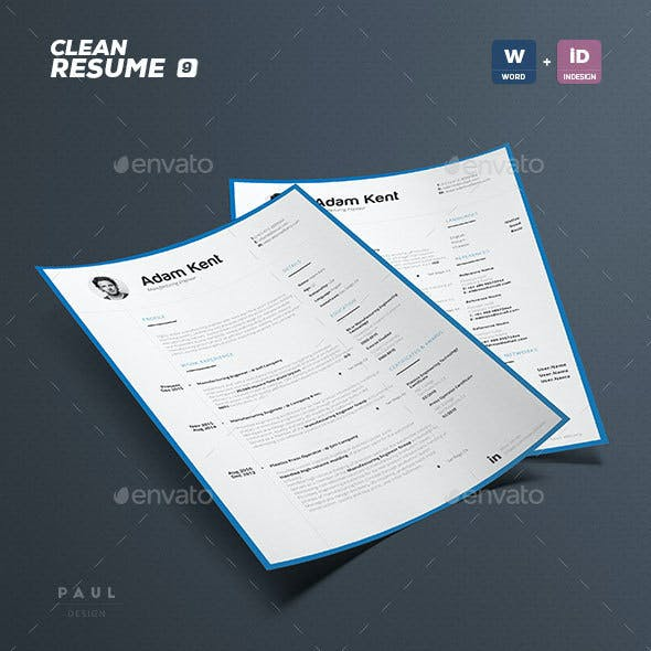 Clean 2 Pages Resume Vol. 9