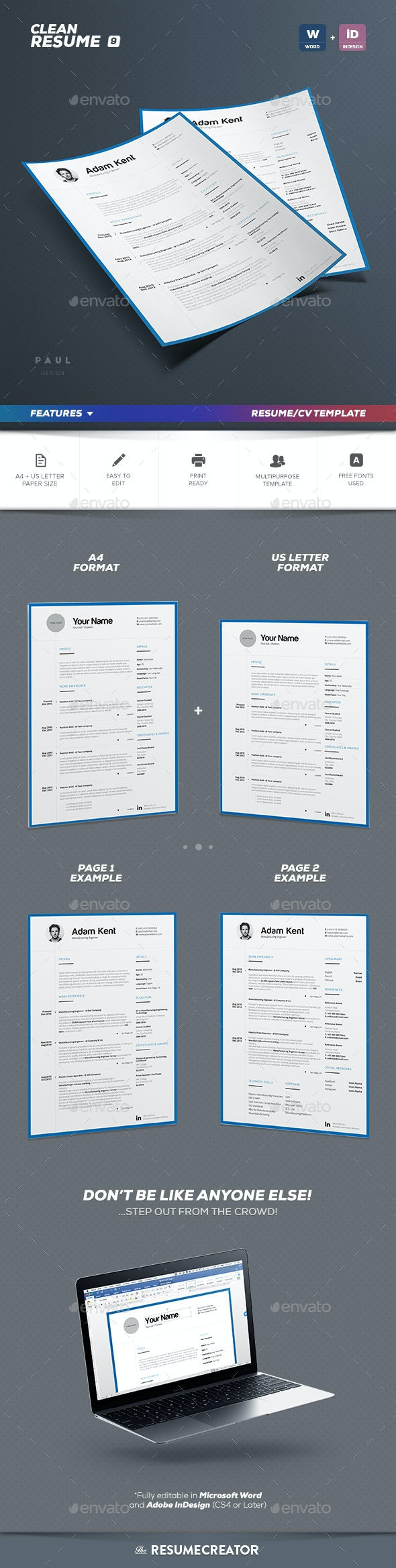 Clean 2 Pages Resume Vol. 9 - Resumes Stationery