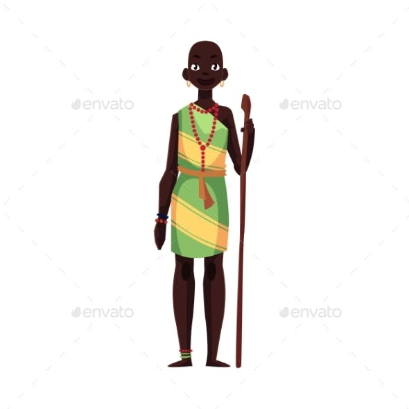 Aborigine Woman From African Tribe Wearing