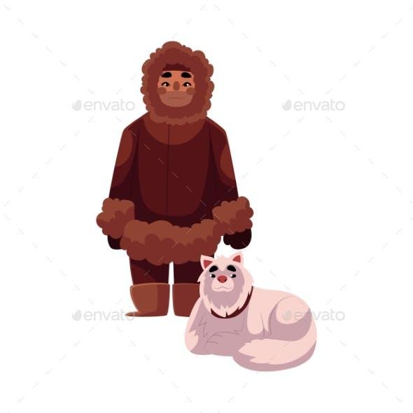 Eskimo Inuit Man in Warm Winter Clothes