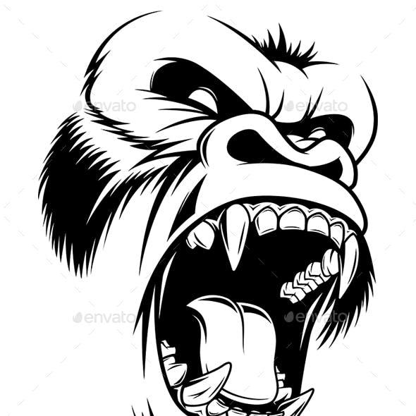 Fierce Gorilla Head