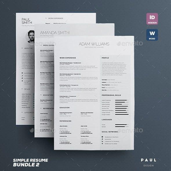 Simple Resume/Cv Bundle Volume 2