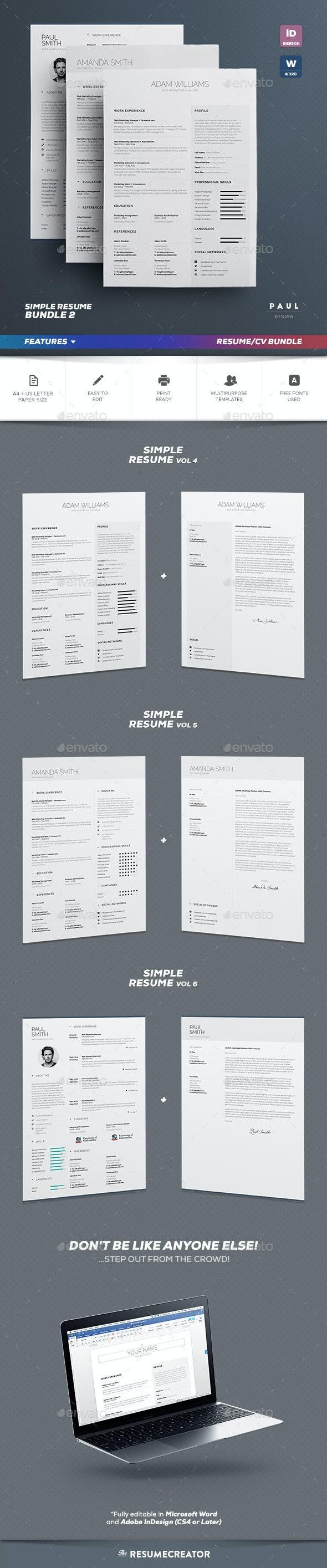 Simple Resume/Cv Bundle Volume 2 - Resumes Stationery