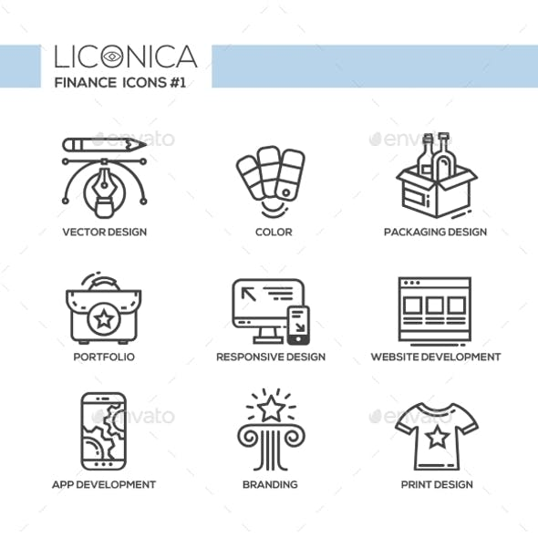 Designing - Thin Line Design Icons, Pictograms