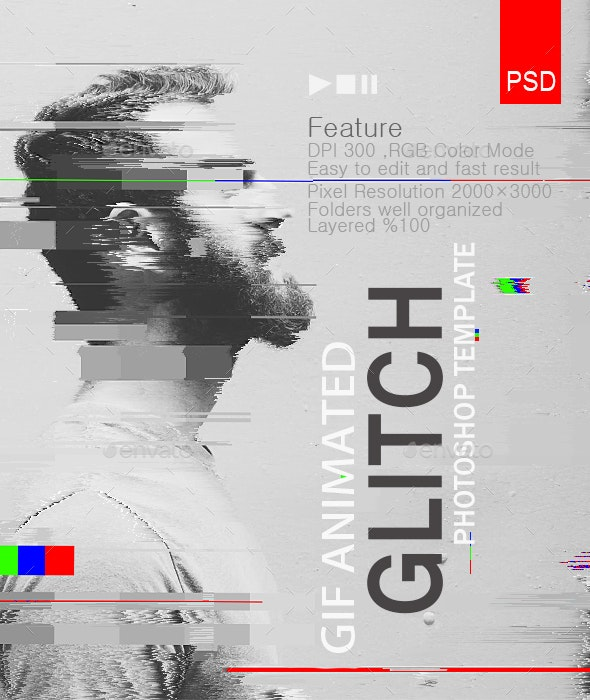 Gif Animated Glitch - Photoshop Templates - Photo Templates Graphics