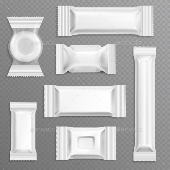 White Empty Bar Polyethylene Wrapper Packaging - Man-made Objects Objects