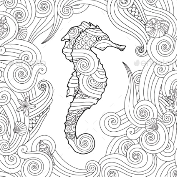 Hand Drawn Sketch of Seahorse Surrounded By Waves