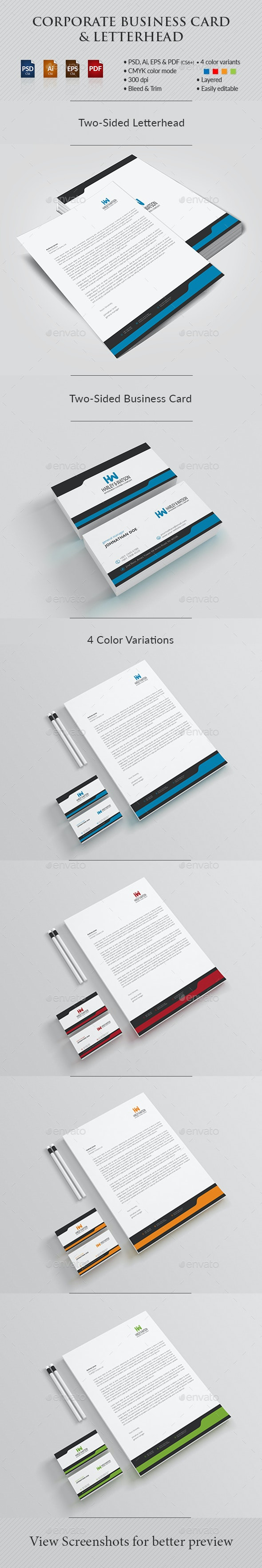Corporate Business Card & Letterhead - Stationery Print Templates