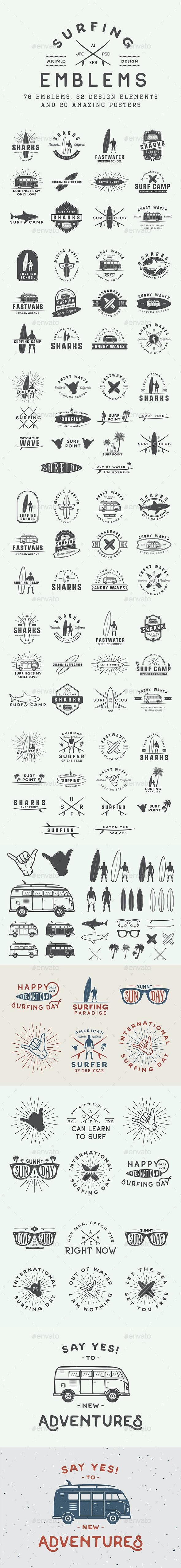 Vintage Surfing Emblems - Badges & Stickers Web Elements