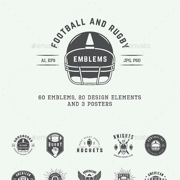 American Football and Rugby Emblems
