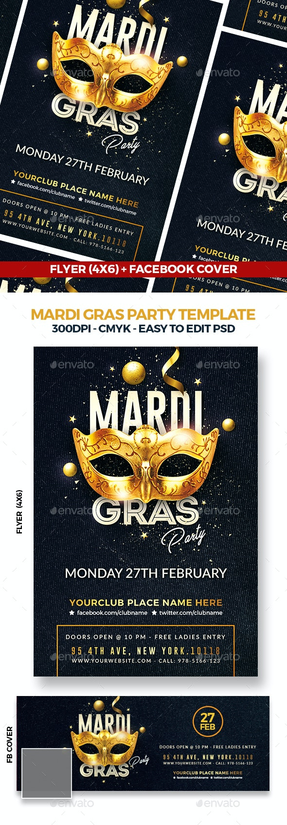 Mardi Gras Party Flyer Template - Events Flyers