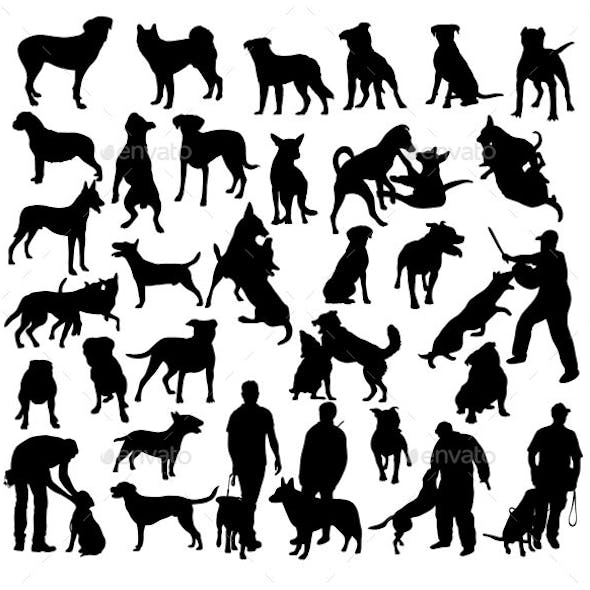 Police Dog Activity Silhouettes