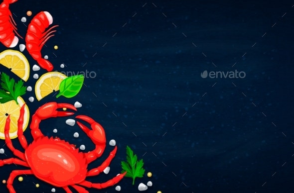 Vector Seafood. Healthy Food Cooking Concept. - Food Objects