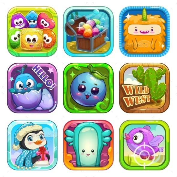 Funny App Icons Set.