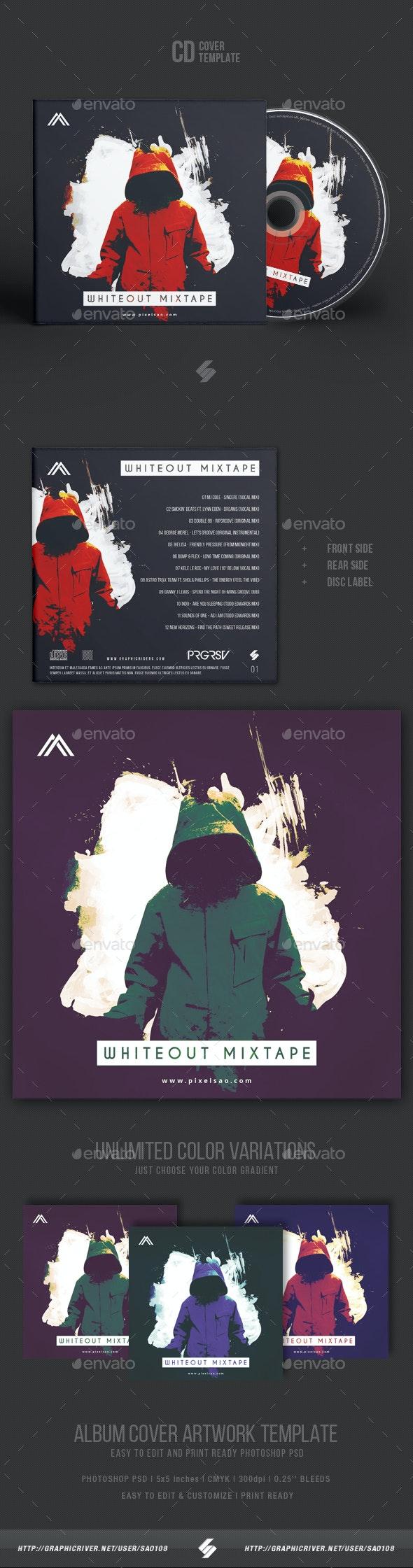 Whiteout Mixtape - CD Cover Artwork Template - CD & DVD Artwork Print Templates