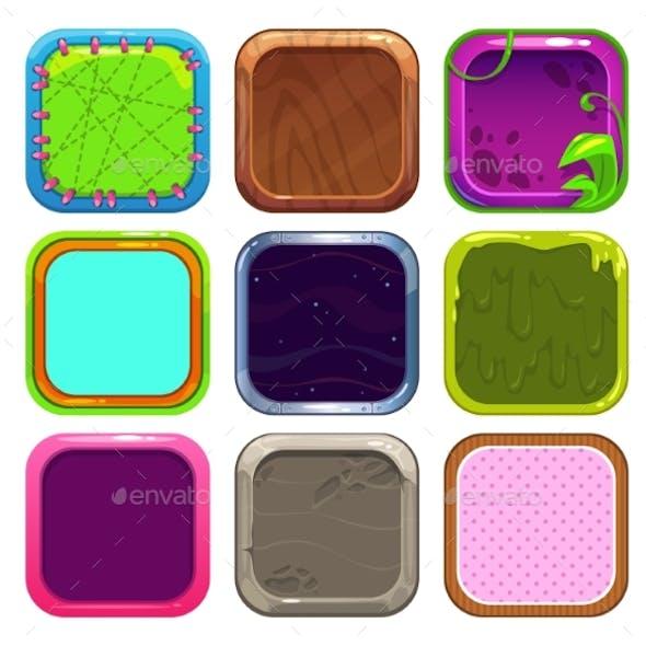 Funny Cartoon Square Frames for App Icons Design.
