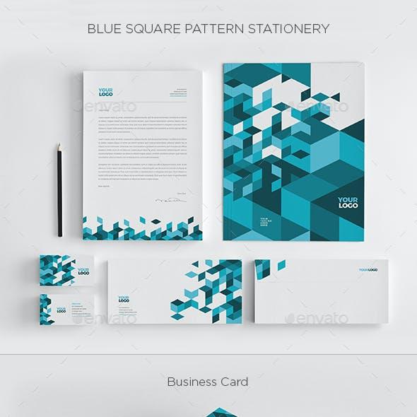 Blue Square Pattern Stationery