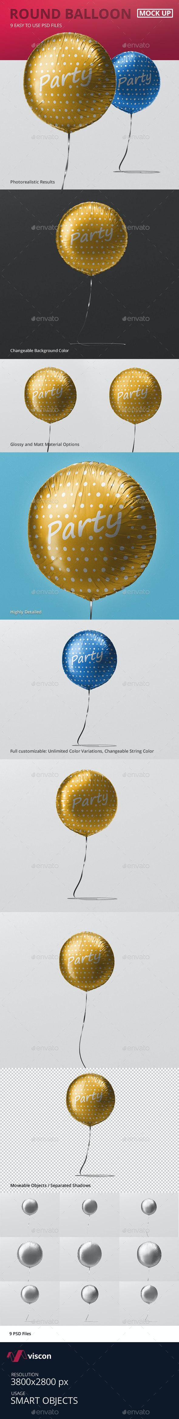 Round Balloon Mockup - Miscellaneous Print