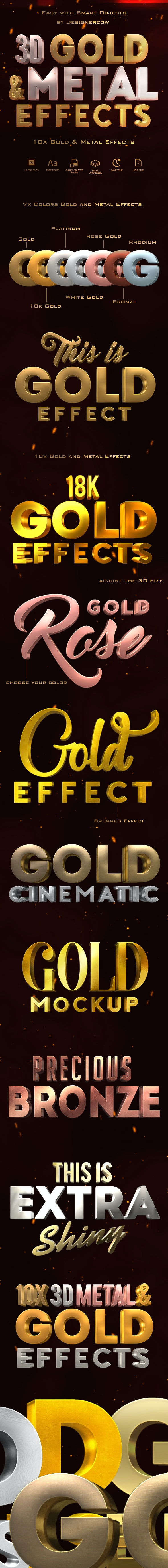 3D Gold and Metal Effects - Text Effects Actions