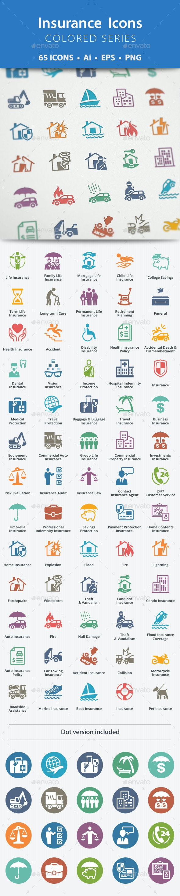 Insurance Icons - Colored Series - Business Icons