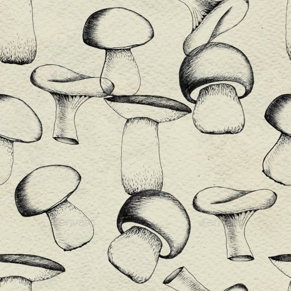 Hand Drawn Seamless Pattern with Mushrooms.