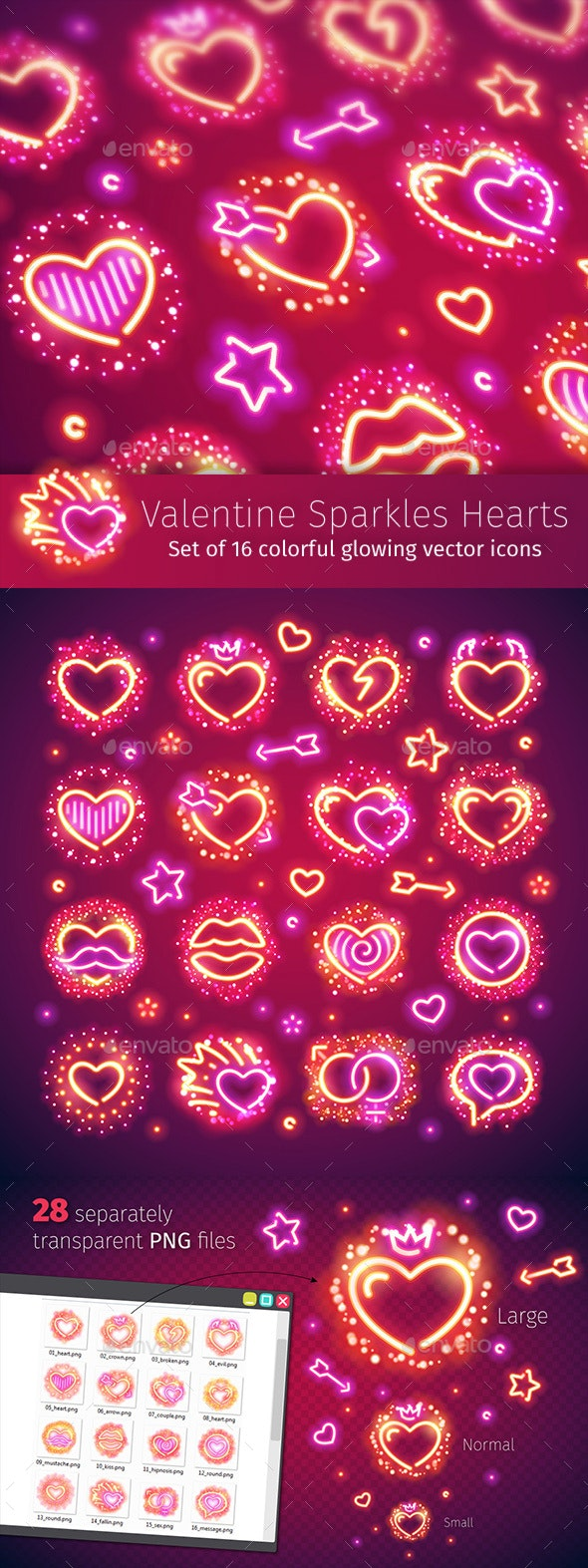 Valentine Hearts with Sparkles