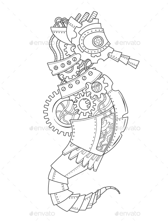 Steampunk Style Sea Horse Coloring Book by