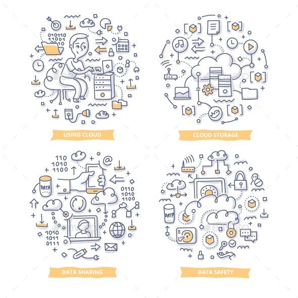 Cloud Computing Doodle Illustrations
