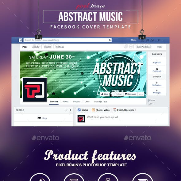 Abstract Music Facebook Cover Templates