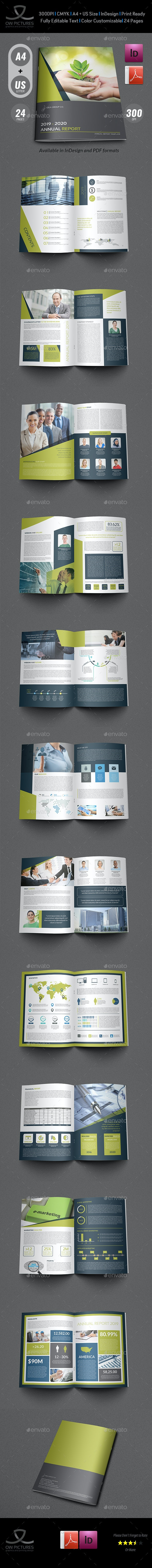 Annual Report Brochure Template  - 24 Pages - Brochures Print Templates