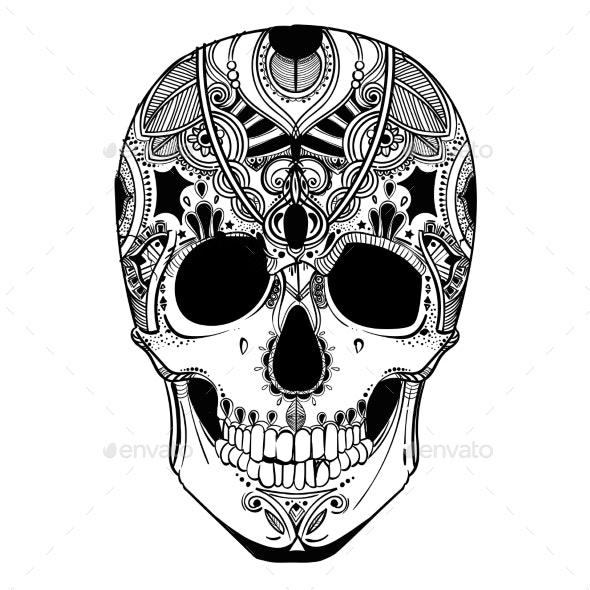 Human Skull with Decorative Elements - Tattoos Vectors