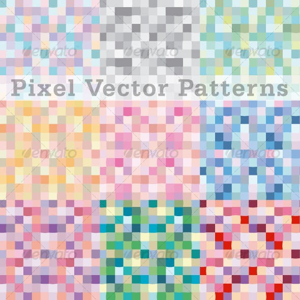 Pixels Vector Pattern Swatches