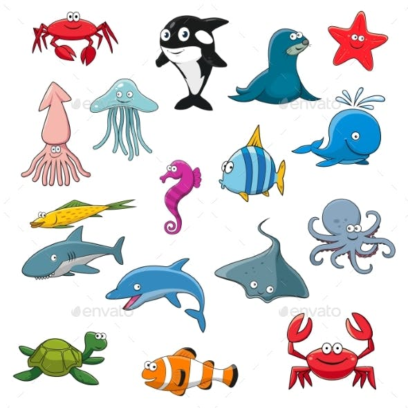 Ocean or Sea Cartoon Isolated Characters