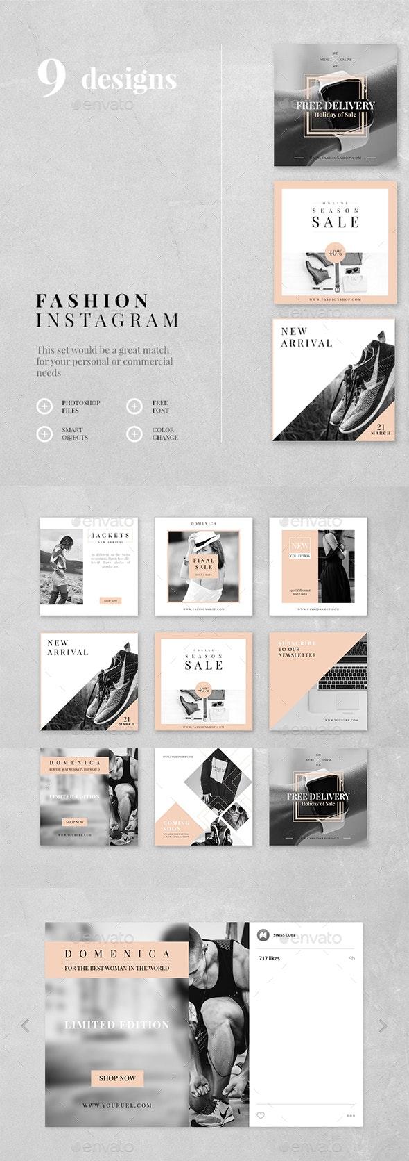 Fashion Instagram - 9 Designs - Social Media Web Elements
