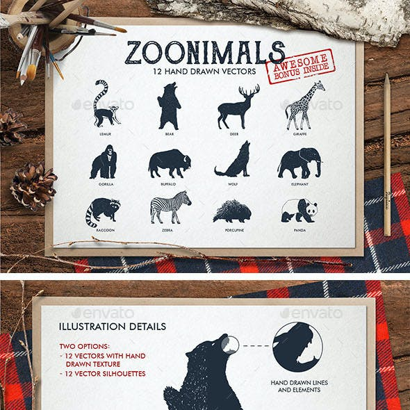 ZooAnimals. Hand Drawn Animals