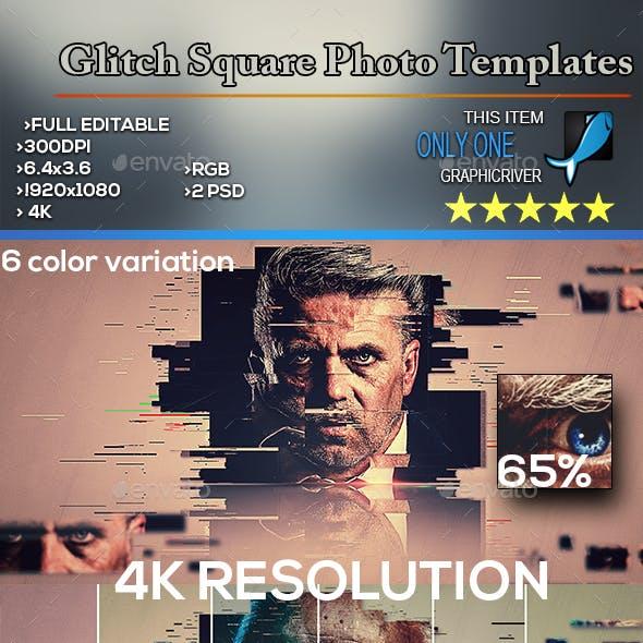 Glitch Square Photo Templates