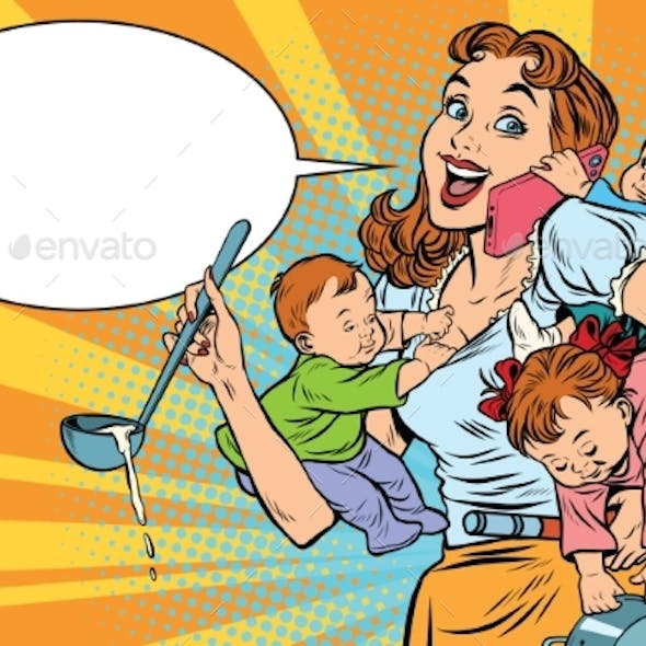 Cheerful Mother with Three Children Working