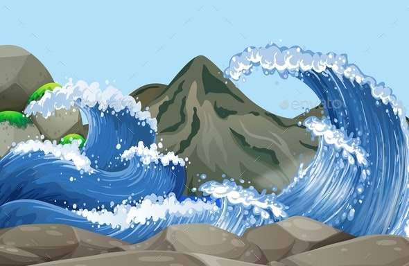 Ocean Scene with Big Waves on the Rocks - Landscapes Nature