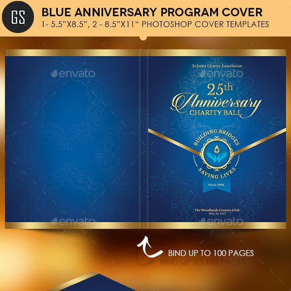 Blue Anniversary Gala Program Cover Template