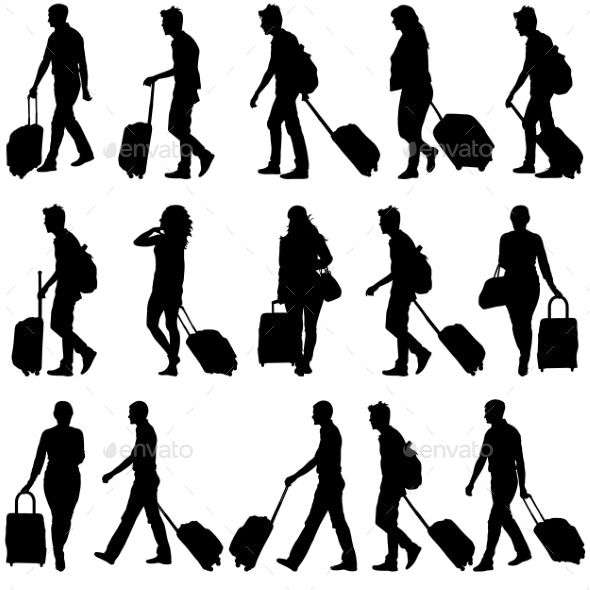 Black Silhouettes Travelers with Suitcases - People Characters