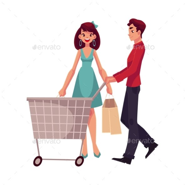 Man Pushing a Cart and Woman Holding Shopping Bags