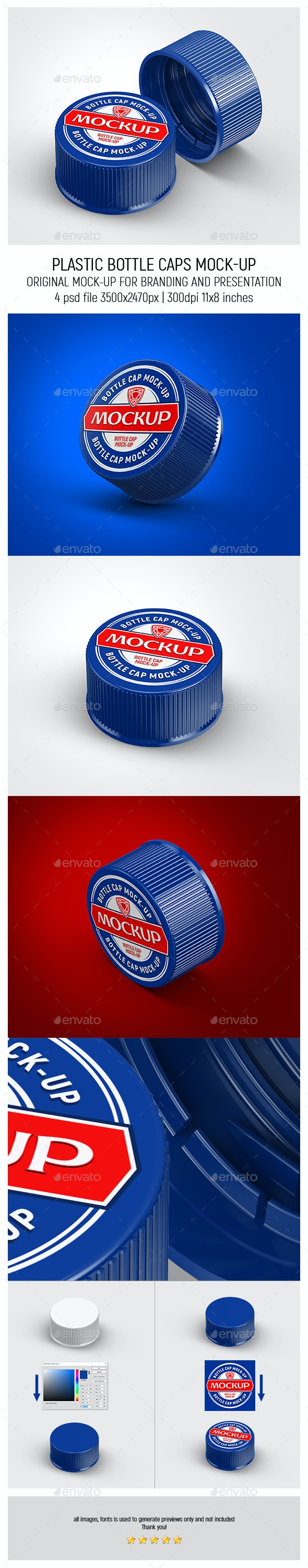 Plastic Bottle Caps Mock-up - Miscellaneous Packaging