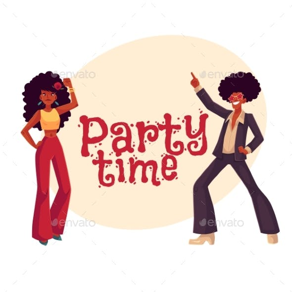 Man and Woman with Afro Hair in 1970s Clothes Dancing
