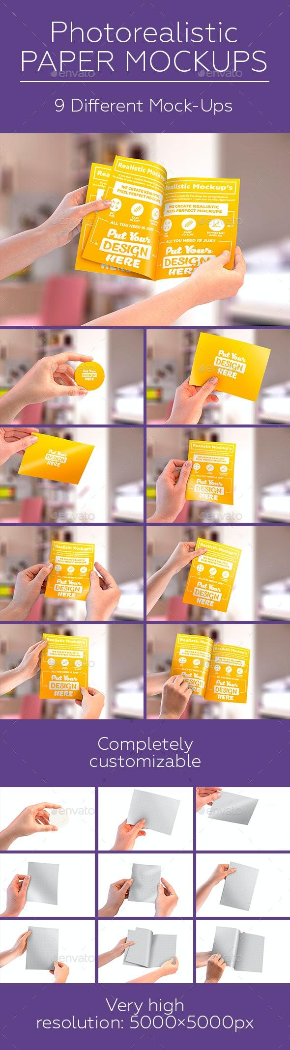 Paper Mock-Ups. Brochure   A5 Leaflet   Label - Print Product Mock-Ups