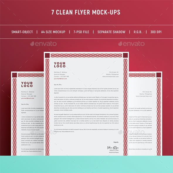 Clean & Flat A4 Flyer Mock-Ups