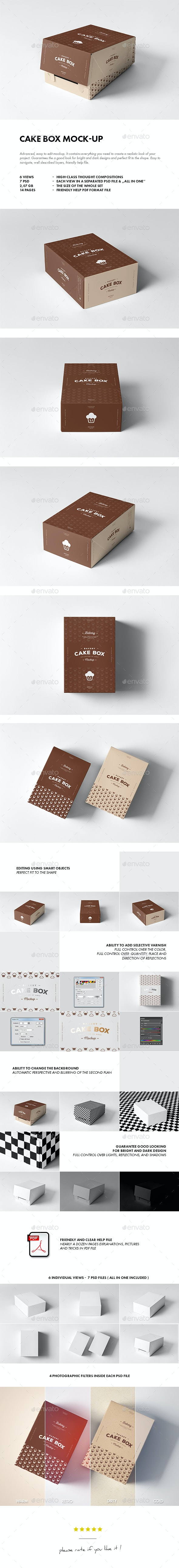 Cake Box Mock-up - Food and Drink Packaging