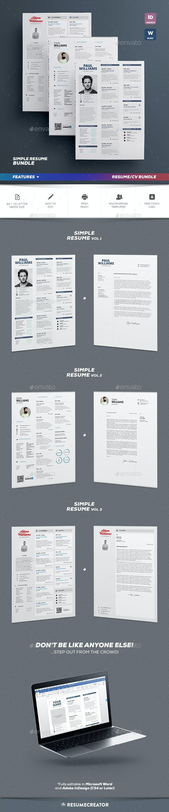 Simple Resume Bundle - Resumes Stationery