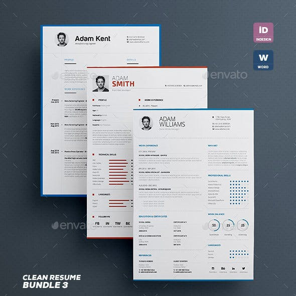Clean Resume/Cv Bundle Vol.3