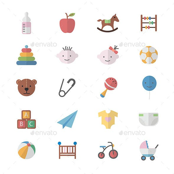 Flat Color Icons Design Set of Baby and Toy Icons