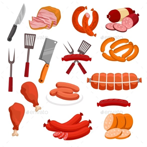 Butchery Meat Sausage Salami Vector Isolated Icons